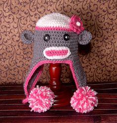 Ook Ook : Sock Monkey Earflap Hat