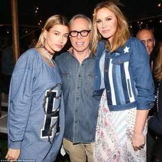 Three's company: (L-R) Hailey Baldwin, Tommy Hilfiger and Dee Ocleppo crossed paths backst...