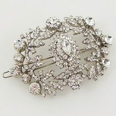 Victorian Era Crystal Barrette - I would attach this to a hat..maybe baseball hat - BLING!!