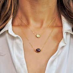 Small Amethyst Necklace Gold Amethyst Pendant Gold by LandonLacey