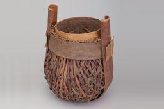 x x x ~ Dorothy Gill Barnes, Banded Pine Bark Basket, 1984, Pine bark, Racine Art Museum, Gift of the Barnes Family