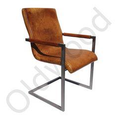 Industriële leren stoelen Cognac,