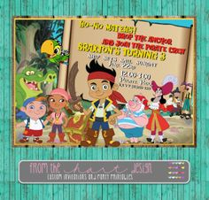 Jake and the Neverland Pirates invitation by FromTheHartDesign, $15.00
