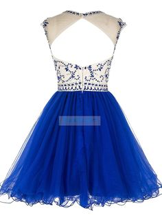 New Arrival Short Beading Scoop Tulle Hollow Back Prom Homecoming Dress With Low Price And Quality at D-daydress.com!