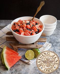 Watermelon, Blueberry & Cotija Salad: Prep Time: 25 Minutes Makes: 8 Cups