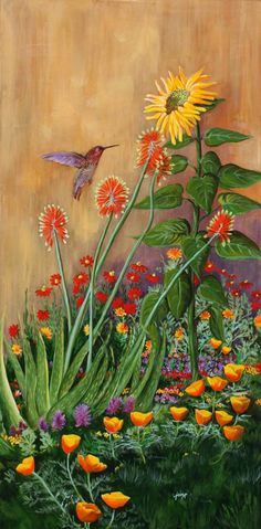 The sunflower and the hummingbirds in the garden-Barbara Ann Spencer Jump Vincent Van Gogh, Sunflowers And Daisies, Art Through The Ages, Desert Art, Southwest Art, Art World, Painting Inspiration, Hummingbird, Flower Art