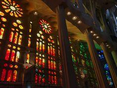 Las muchísimas vidriera de la Sagrada Familia tienen colores diferentes y paternas diferentes. En este foto hay unas de colores rojos y otros de verdes y azules. La mezcla de los colores ricos crea un efecto  muy fuerte y mágico. La incorporación de color y la reflexión del color del sol causa personas que entran para tener sentimientos espirituales.