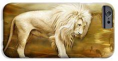 Kingdom Of The White Lion  phone case featuring the art of Carol Cavalaris. Spiritual Animal, Art Phone Cases, Wearable Art, Lion Sculpture, Anime, Statue, Prints, Iphone, Winter