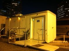 ADA restroom trailer by Royal Restrooms of Florida at Liberty Plaza, Tampa FL, 2012 Republican National Convention. Find nationwide office info at RoyalRestrooms.com.