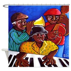From original artwork of Renie Britenbucher Funky Jazz, Elegant Shower Curtains, Original Artwork, African, Pillows, Cool Stuff, Handmade Gifts, Keyboard, Afro
