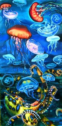 Octopus & Jellyfish - Oil painting on wood