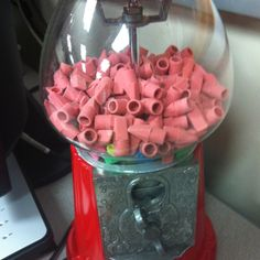 """Gumball dispenser filled with pencil tip erasers. Cute teacher gift, too. I wonder how many students would """"lose"""" their erasers and need a new one if this was available?"""