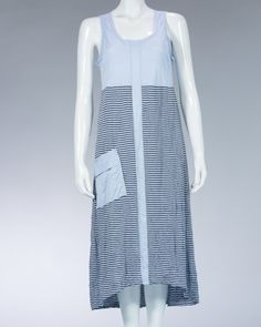Animale ladies long dress striped motif and plain - Blue #WomenDress #Dress #SummerDress #Animale #WomenWear #WomenFashion #MotifDress #LightDress #SummerDress