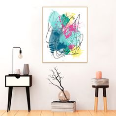 Modern #Abstract #Art, #Blue, #yellow, #Pink and Green #Painting, #Printable #Wall Art, Instant Download, #Large Art Prints,  16 x 20 inches by InspirationAbstracts on Etsy
