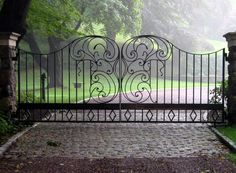 A custom, wrought-iron driveway gate with an amazing Art Nouveau-inspired design. Large, organic swirls with contrasting straight lines and diamond details. Designed and installed by Tri State Gate in Bedford Hills, New York. Wrought Iron Driveway Gates, Driveway Entrance, Gate For Home, Fence Gate, Fencing, Stone Driveway, Tropical Backyard, Entrance Gates, Iron Doors
