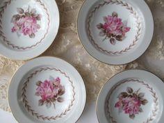Vintage Noritake Rosemont Pink Gray Dessert Bowls by thechinagirl
