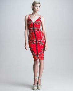 Ruched Rose-Print Sheath Dress by Jean Paul Gaultier