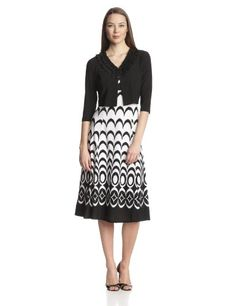 Danny & Nicole Women's Graphic Dress with 3/4 Sleeve Sweater, Black/Ivory, 14 Danny & Nicole,http://www.amazon.com/dp/B00GFU63FU/ref=cm_sw_r_pi_dp_OVGktb17H3A8X2GW