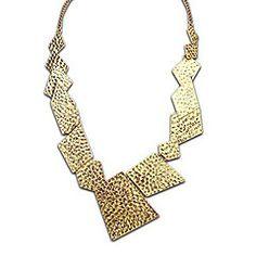 Lureme®Vintage Alloy Metallic Irregular Geometry Statement Necklaces