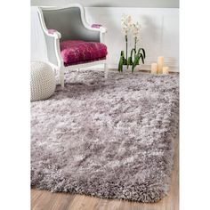 nuloom solid soft and plush white grey shag rug 5u0027 x