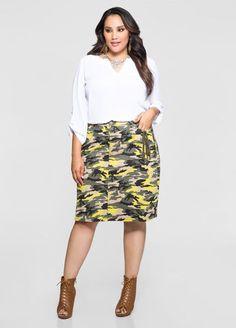 Camo Shirred Pocket A-Line Skirt