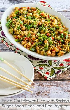 Fried Cauliflower Rice with Shrimp, Sugar Snap Peas, and Red Pepper from @Kalyn's Kitchen