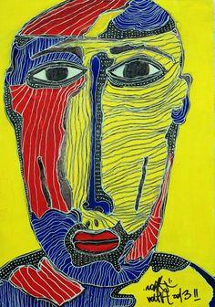Zonk Volta  UNTITLED - 2013 - ACRILICO SU MASONITE  La maschera è un manufatto che si indossa per ricoprire l'intero viso o solamente gli occhi. È utilizzata fin dalla preistoria per rituali religiosi ma la si ritrova anche nelle rappresentazioni teatrali o in feste popolari come il Carnevale; in Italia c'è una ricca tradizione di maschere regionali. [ Zonk Volta]