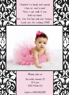 custom printable black white and pink damask photo birthday invitation