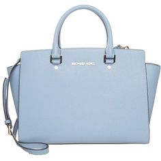 MICHAEL Michael Kors SELMA Handbag pale blue featuring polyvore, fashion, bags, light blue, leather zipper bag, leather zip bag, zip handle bags, real leather bag and zipper bag