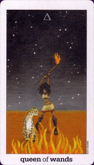 Love this fierce Queen of Wands! Sun and Moon Tarot, art by Vanessa Decort, Published by U.S. Games.