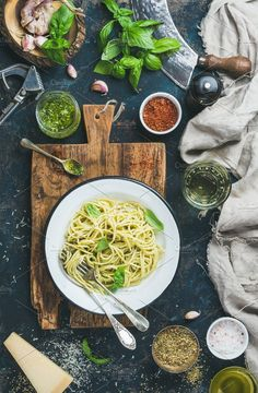 Spaghetti with pesto sauce by Foxys on @creativemarket   Food Photography   Food Blogger Photos   Food Styling   Food photos   Food Images