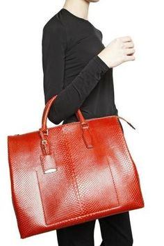 Jil Sander Python Leather Top Handle Bag