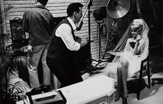 """Bobby Darin and Sandra Dee on the set of their movie """"If A Man Answers"""""""