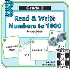 Multi-Match Game Cards 2B: Read & Write Numbers to 1000 from K-8 MathPaths on TeachersNotebook.com -  (10 pages)  - This set of printable game cards provides practice writing 3-digit numbers in word form (CCSS 2.NBT.3). See dozens of other games that are great for math centers!