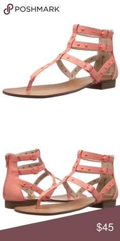 "Kensie Blush Pink Gladiator Studded Sandal Flat gladiator sandal with tonal studs. Leather Heel measures approximately 0.75"" A strappy sandal embellished Rubber heel Faux leather upper Open toe Adjustable ankle straps Back zipper Stud detail Synthetic lining Rubber sole Padded insole Imported Kensie Shoes Sandals"
