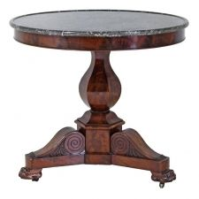 French Charles X Gueridon Round Table In Mahogany With Marble Top, Circa  1825