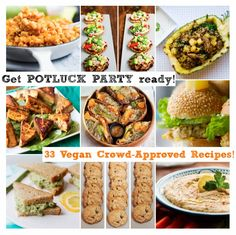 33 Potluck Perfect Vegan Dishes Thank heaven for this Perfect for the work party I have to attend in two weeks Vegan Potluck, Vegan Party Food, Potluck Dishes, Potluck Recipes, Whole Food Recipes, Vegetarian Recipes, Cooking Recipes, Healthy Recipes, Potluck Ideas