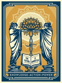 Shepard Fairey - Knowledge + Action Blue / Gold Variant Art Print - In Hand Shepard Fairey Posters, Shepard Fairey Obey, Artemis, Font Art, Street Artists, Dark Art, Mixed Media Art, Blue Gold, Screen Printing