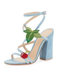 Cherry Denim Strappy 100mm Sandal, Blue by Gianvito Rossi at Neiman Marcus.