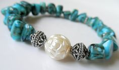 Turquoise+Stretch+Bracelet++Blue++Green++by+BeaditudeBoutique,+$22.00
