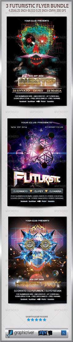 3 Futuristic Flyer Bundle ...  abstract, dj, dubstep, event, fantasy, fey design, flyer, future, futuristic, heroes, modern, music, poster