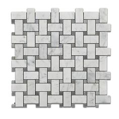 Master Bath Flooring- Carrara White Marble Honed Basketweave Mosaic Tile w/ Blue-Gray Dots