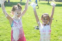 This sounds SO fun!  A MESSY party - where the idea is to get as messy as possible!  From shaving cream slip and slides to no-hands pudding eating contest.  Fun.