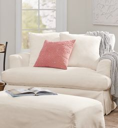 Deep, feathery-soft relaxation. Available in your choice of removable, easy-care Livesmart® Performance Fabric Slipcovers which feature spill-and-stain-repelling technology that wraps every fiber in protection. To change your look, additional slipcovers sold separately.