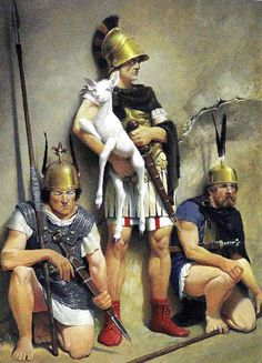 The rebel general Quintus Sertorius, who defected from the Republic to lead the warriors of Iberia (and Roman rebels) against the regime of the Dictator Sulla during the Roman Civil Wars. He is seen here with a white fawn, a gift given to him by the native Iberians, which he claimed was divinely inspired by the Goddess of hunting, Diana.