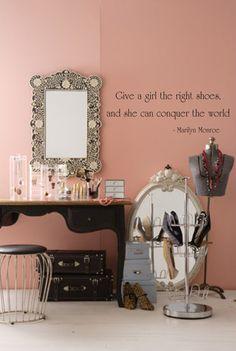 Closet Pink Walls Black Vanity Wire Stool Bone Inlay Mirror And Melissa Rose Curbelo Dressing Room Ideas