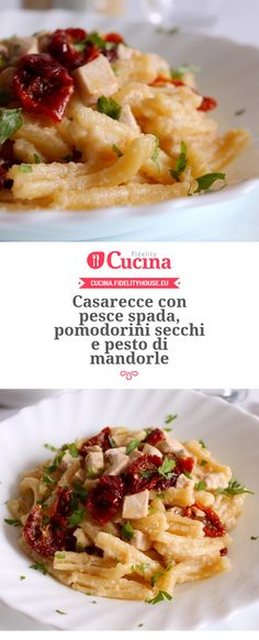 Casarecce con #pesce spada, #pomodorini secchi e pesto di #mandorle della nostra utente Giovanna. Unisciti alla nostra Community ed invia le tue ricette!