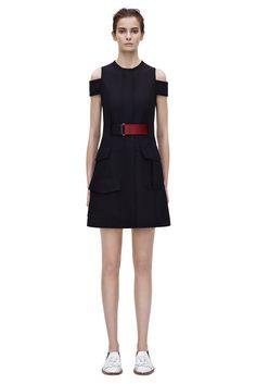 #Victoria #Beckham Belted Arm Shift Dress in Black/Blood.