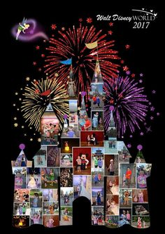 Disney photo collage - castle Wall Art Poster Print Fine Art Digital Gift Ideas Disney Castle Collage Fireworks - Robin is Life Disney Gift, Disney Crafts, Disney Fun, Walt Disney, Disney Scrapbook Pages, Scrapbook Templates, Scrapbook Box, Wedding Scrapbook, Scrapbooking Digital