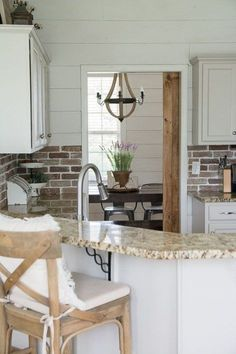 Vintage Farmhouse Decor Update your kitchen with an Easy DIY Brick Backsplash! This affordable project is perfect for beginners who are looking for that classic farmhouse style! Farmhouse Style Kitchen, Home Decor Kitchen, Diy Home Decor, Kitchen Design, Kitchen Ideas, Farmhouse Decor, Vintage Farmhouse, Farmhouse Kitchens, Diy Kitchens